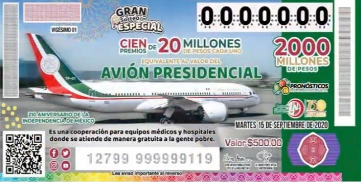 Confirman rifa del avión presidencial