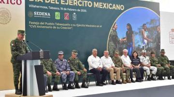 Reconoce Gobierno de Tabasco labor del Ejército Mexicano en su día