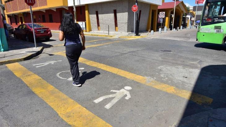 Implementan el 1x1 y franjas peatonales en el centro de Villahermosa