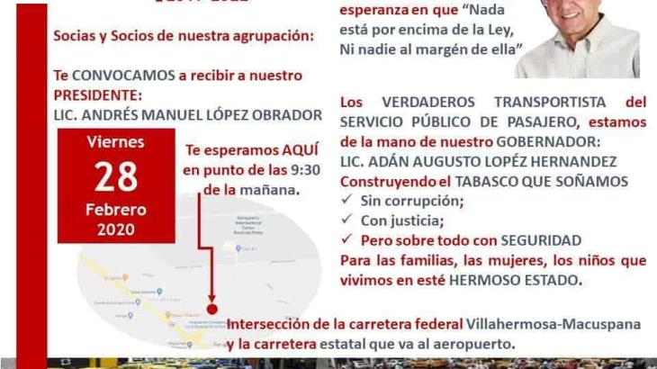 Taxistas buscarán intervención del Presidente contra el pirataje en su visita a Tabasco