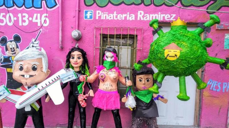 Piñatas de coronavirus y AMLO con cachitos de la lotería se hacen virales
