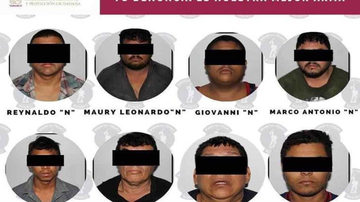 Dan prisión preventiva a doce presuntos delincuentes detenidos en Nacajuca