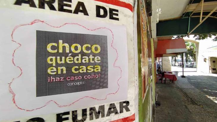 Piden que te quedes en casa con curioso mensaje en Zona Luz de Villahermosa