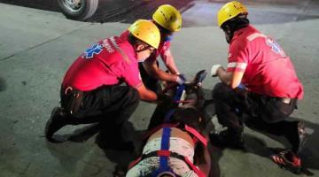 Derrapa motociclista en Macuspana y resulta lesionado; conducía ebrio