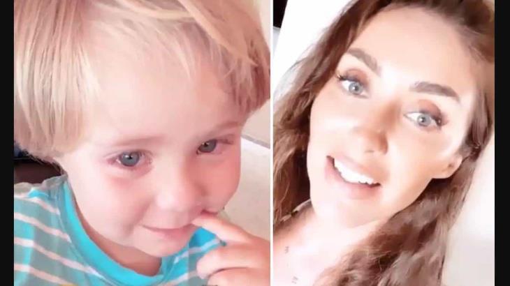 Anahí canta ´Sálvame´ en plena cuarentena y hace llorar a su hijo