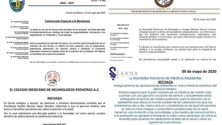 Exigen Colegios y sociedades médicas a AMLO disculpa pública