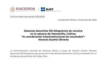 Decomisan en aduana de Manzanillo, 130 Kilos de cocaína proveniente de Perú