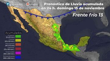Nuevo Frente Frío dejaría lluvias acumuladas en Tabasco y Chiapas de más de 200 mm en 4 días