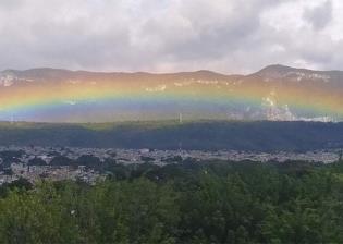 Cielo de Tuxtla Gutiérrez se engalana con arcoíris a las faldas del cerro del Cañón del Sumidero