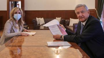 Revisa AMLO agenda de trabajo de CONAGO con su presidenta, Claudia Pavlovich