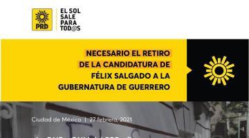 Exige PRD retirar oficialmente candidatura a Félix Salgado; fallo de la CNHJ es simulación, acusa