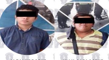 Detiene SSPC a dos sujetos por robo a comercio en Villahermosa